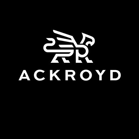 Ackroyd logo in white