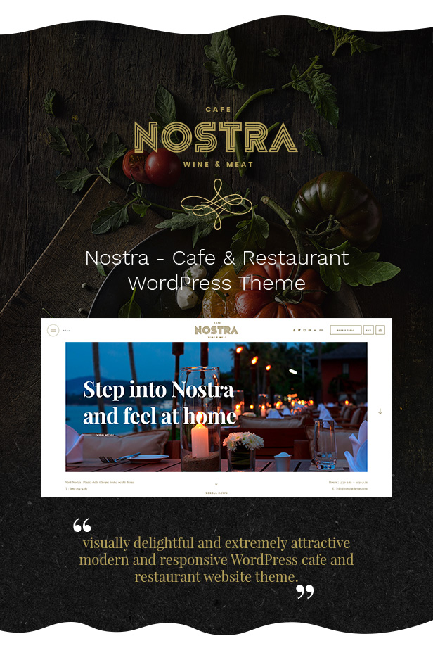 nostra - an elegant cafe & restaurant wordpress theme (restaurants & cafes) Nostra – An Elegant Cafe & Restaurant WordPress Theme (Restaurants & Cafes) 1