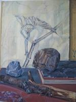 Still Life with Drawing, Twigs and some Stones
