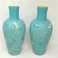 Pair of Turquoise Vases with Fish and Dragonflies