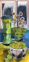 Green Glass Vase with Green Apples