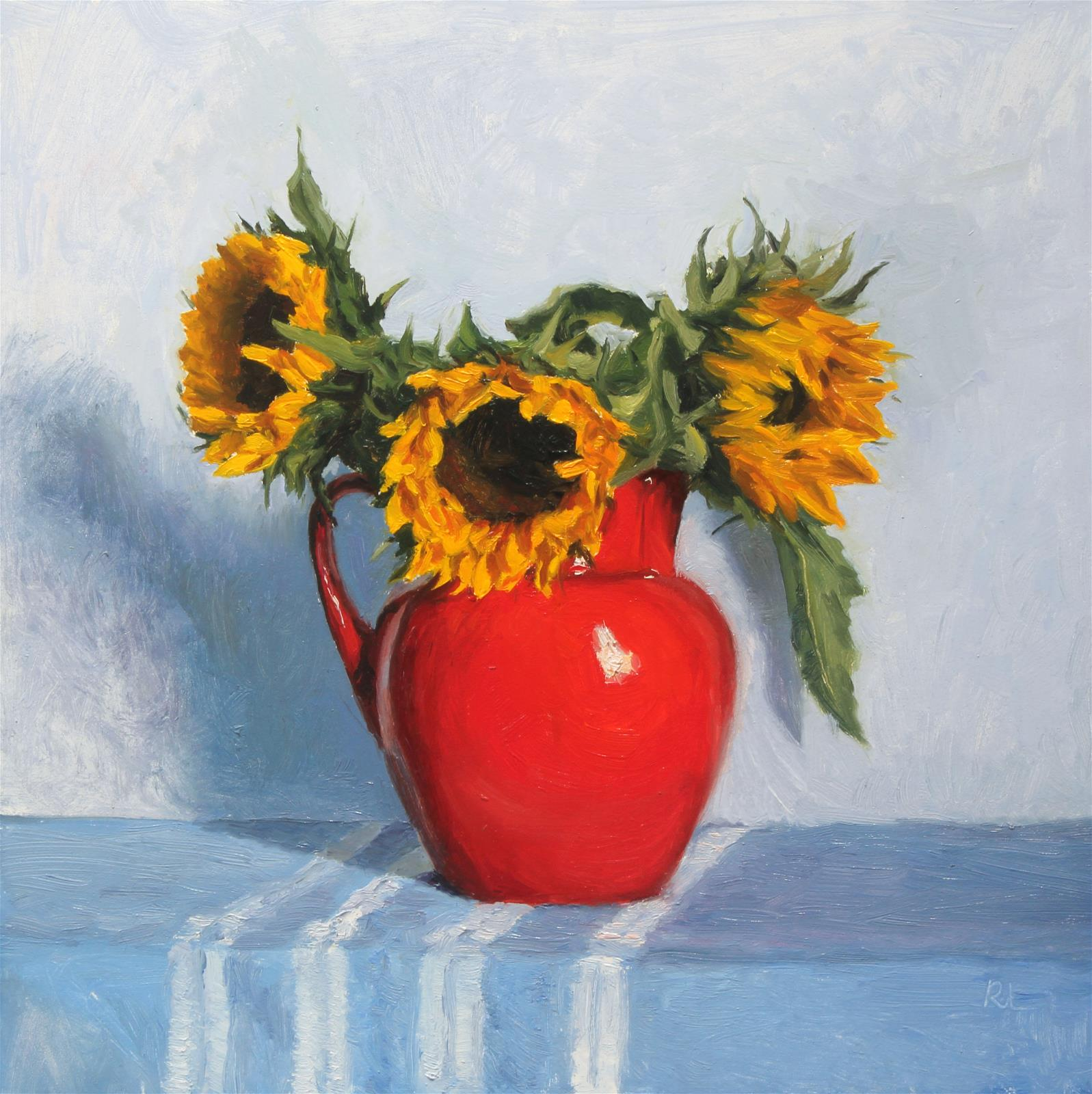 Sunflowers in a Red Jug