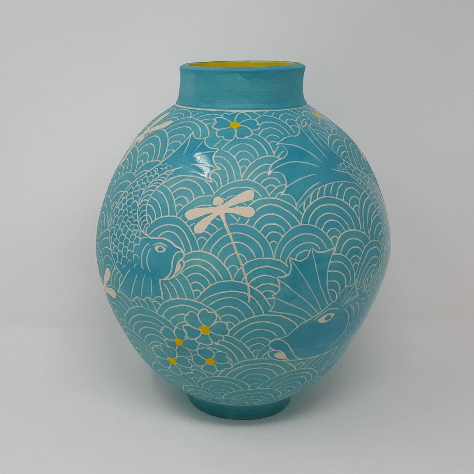 Moon Jar with Turquoise Fish and Dragonflies