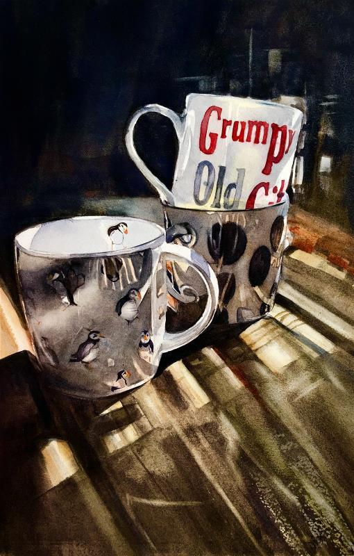 Three old mugs