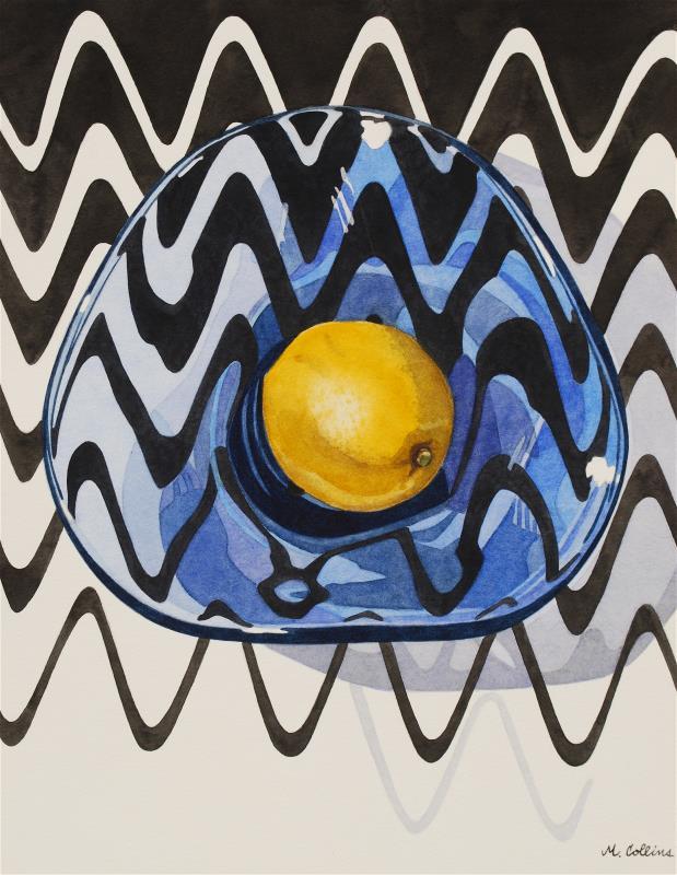 Lemon in a Blue Glass Bowl
