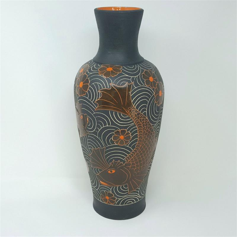Tall Black Vase with Orange Fighting Fish