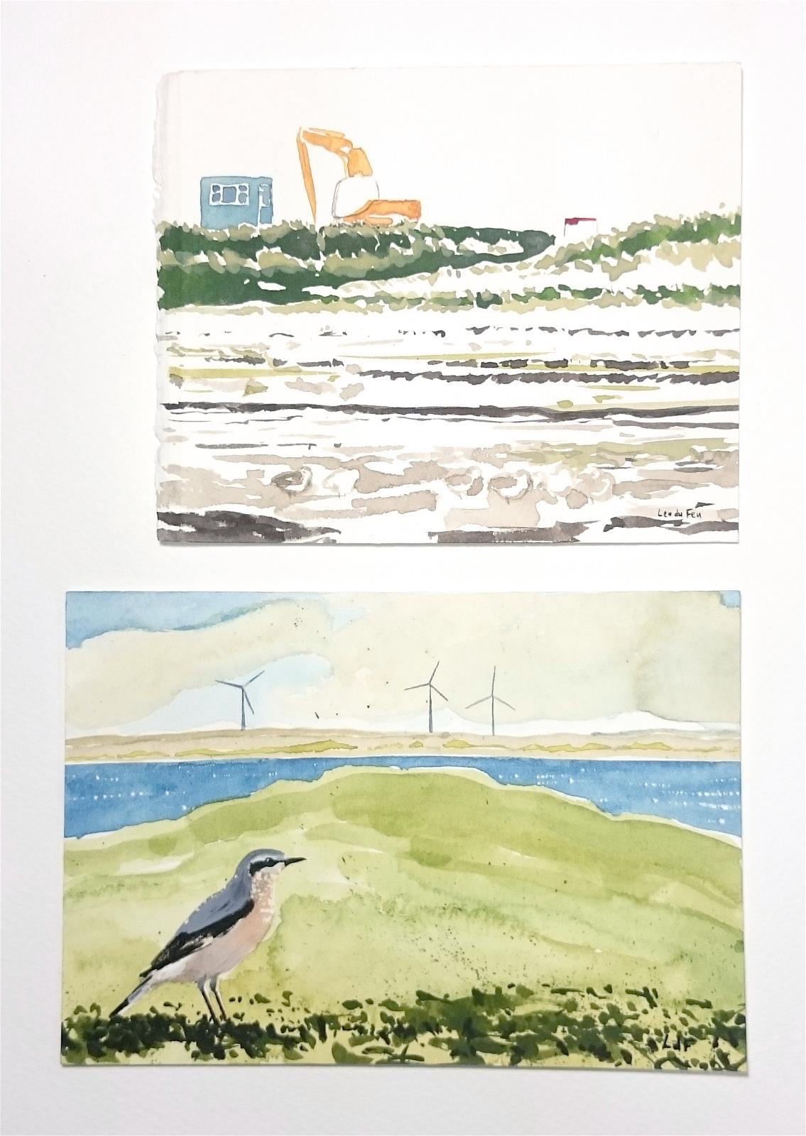 Hebridean diptych - excavator and waders, wheatear and turbines