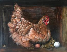 Hen with eggs
