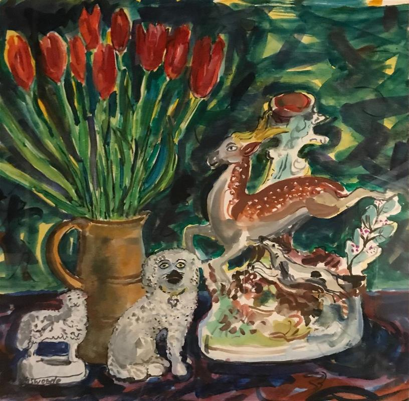 Leaping Stag with Tulips