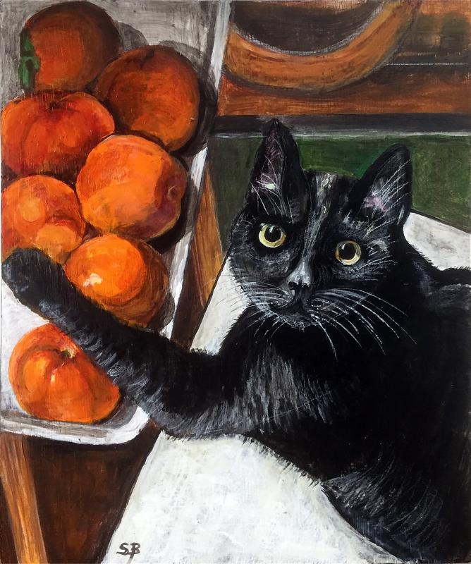 Cat with persimmons.