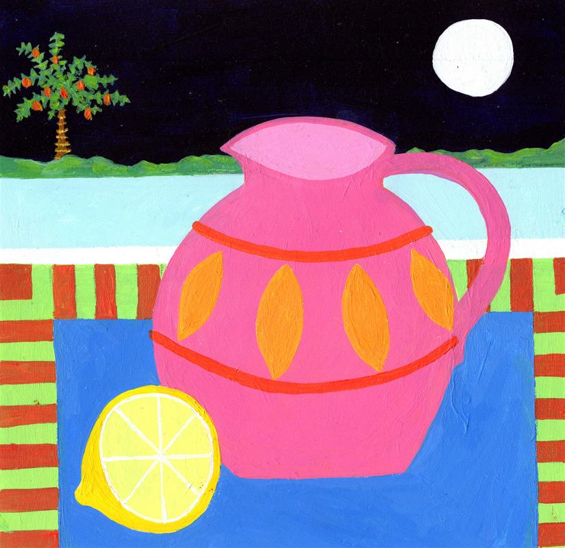 Pink Vase with Lemon