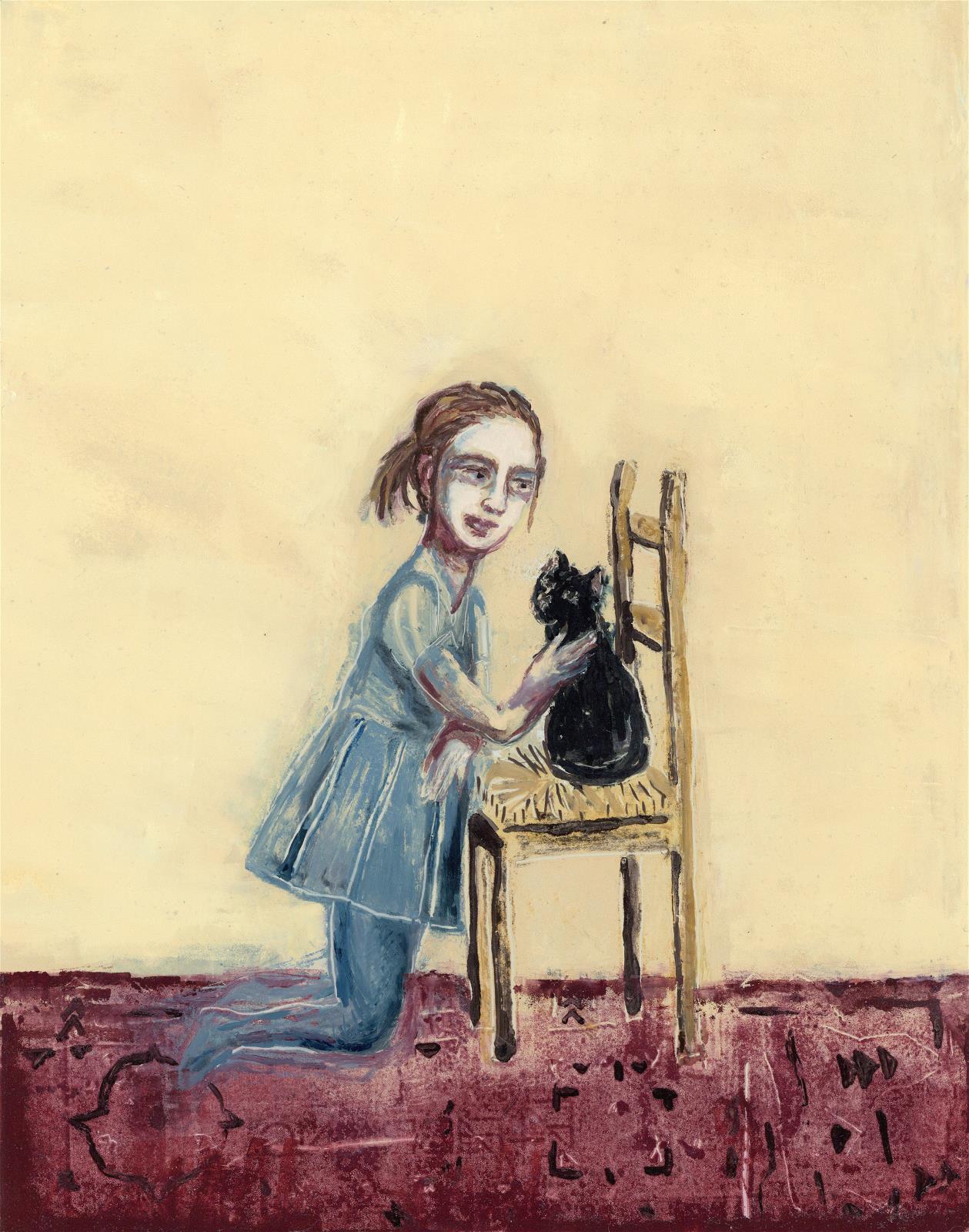 School Girl and Cat