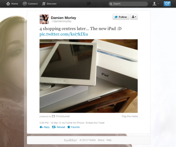 Damien Morley's new iPad