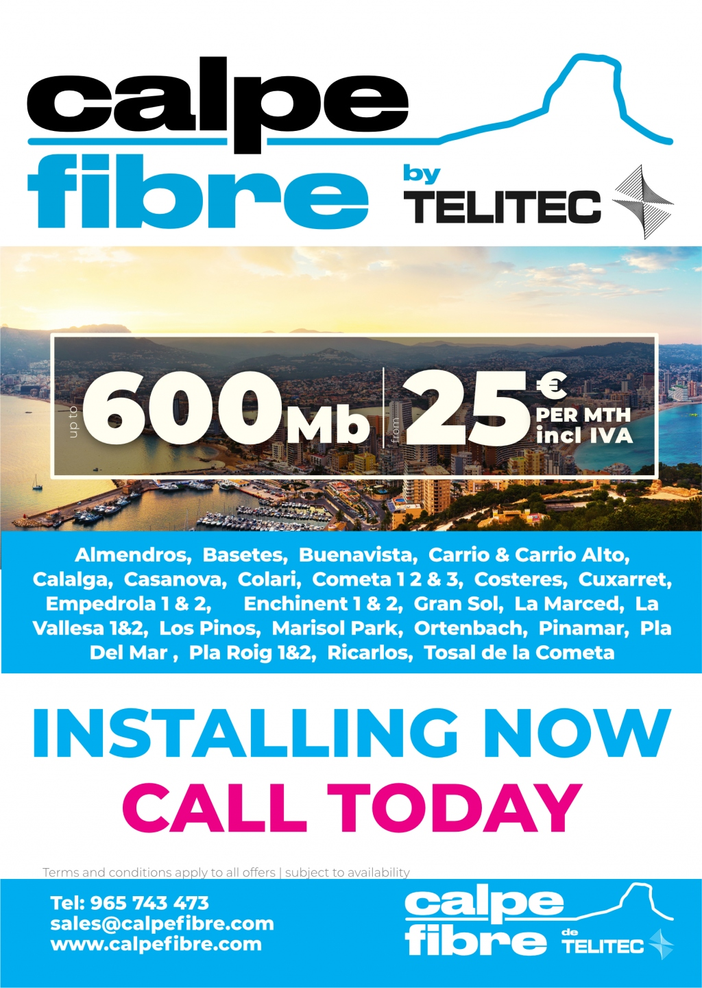 Calpe Fibre by Telitec is installing Fibre Optic in the urbanisations of Calpe