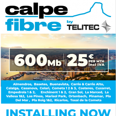 Get Fibre Optic in your home from Calpe Fibre by Telitec