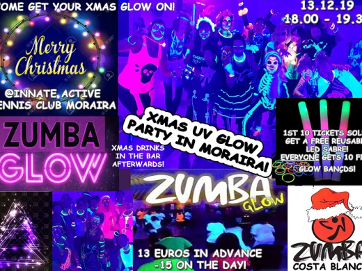 Zumba Classes in Moraira: Christmas UV Glow Party at Innate Active Tennis Club