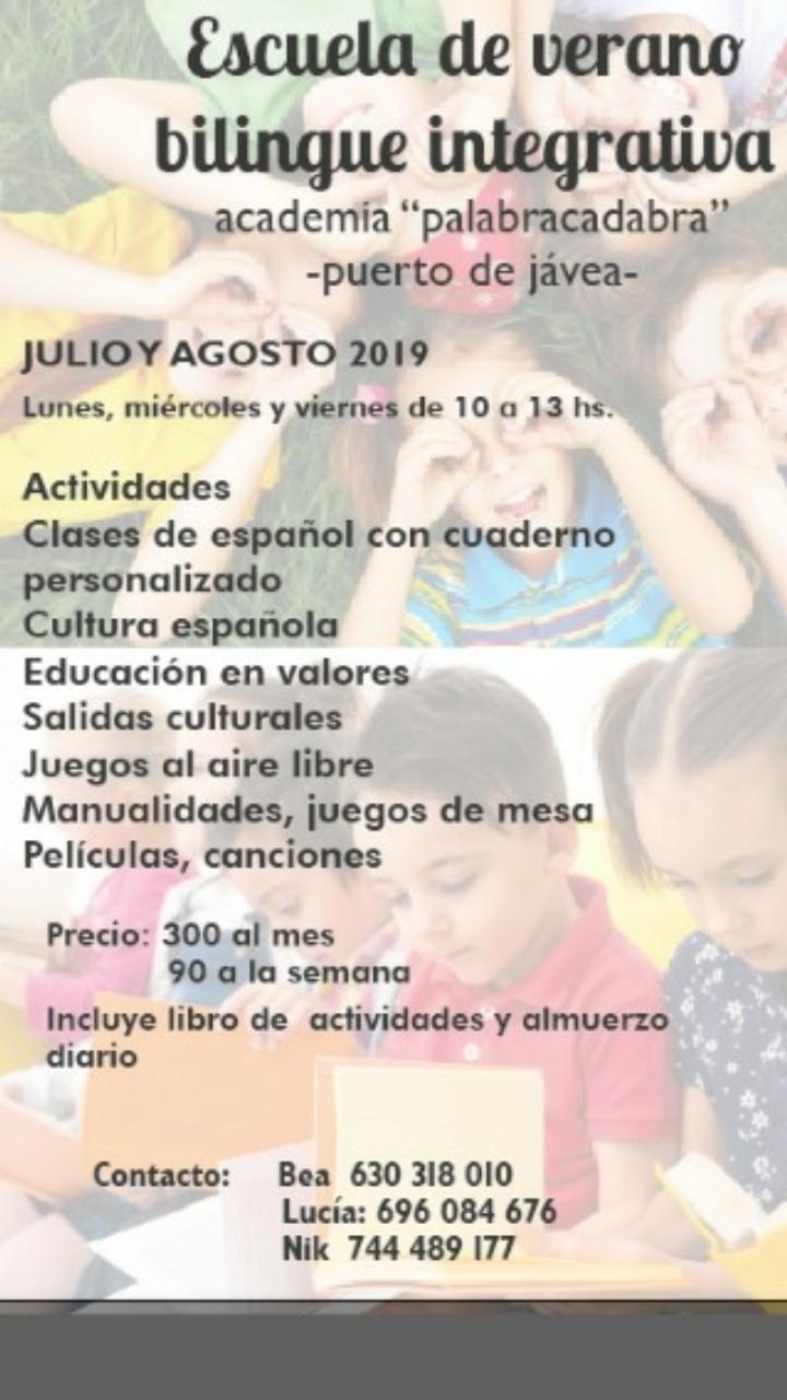 "Bi-Lingual Summer School from Academy ""Palabracadabra"" in Javea during July & August"