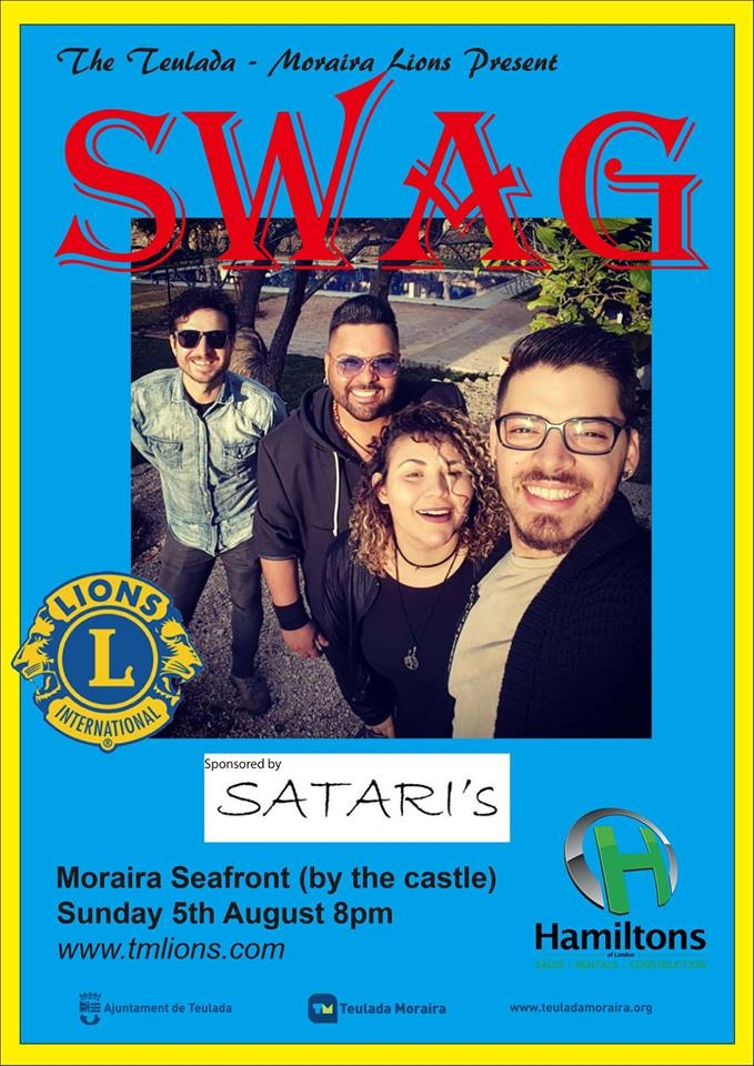 "Teulada-Moraira Lions present the fantastic ""SWAG"" concert on Moraira seafront - 5th August"