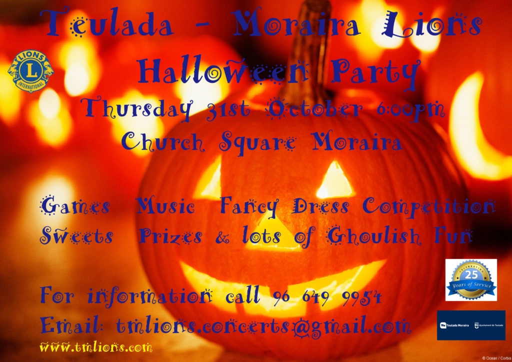 Charity Events in Moraira: Annual Halloween Party in Moraira organised by Teulada-Moraira Lions
