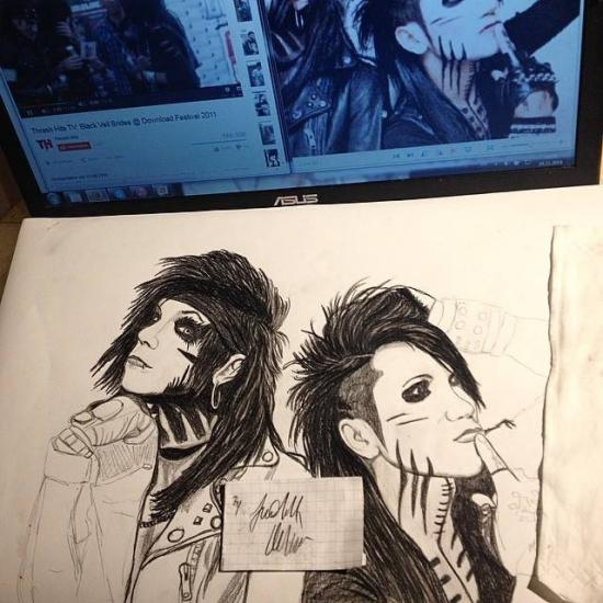 Andy Sixx and Ashley Purdy in warpaint Black veil