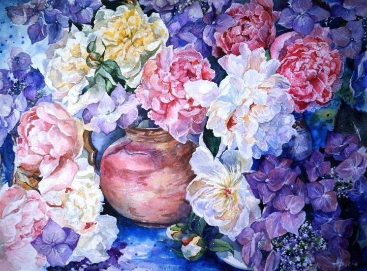 Peonies and violet flowers