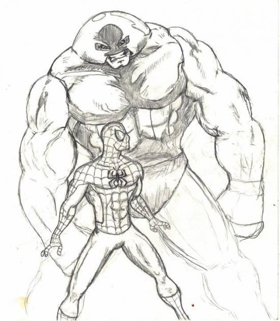 Juggernaut n Spidey Sketch