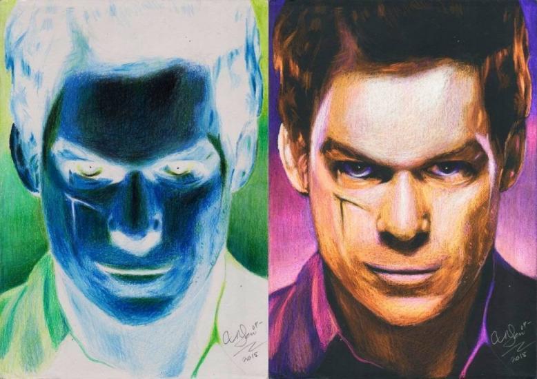 Dexter Negative Colour Drawing [Michael C. Hall]