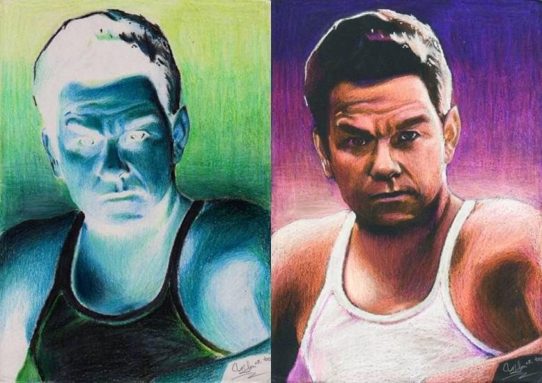 Mark Wahlberg Negative Colour Drawing