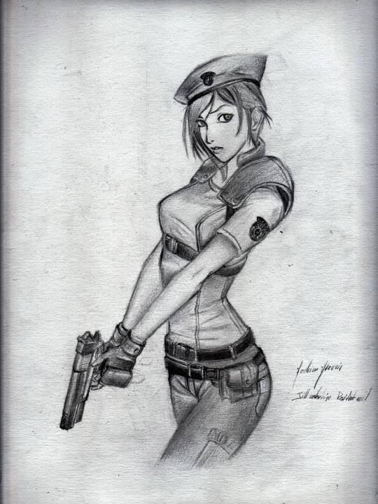 old drawing: jill valentine resident evil