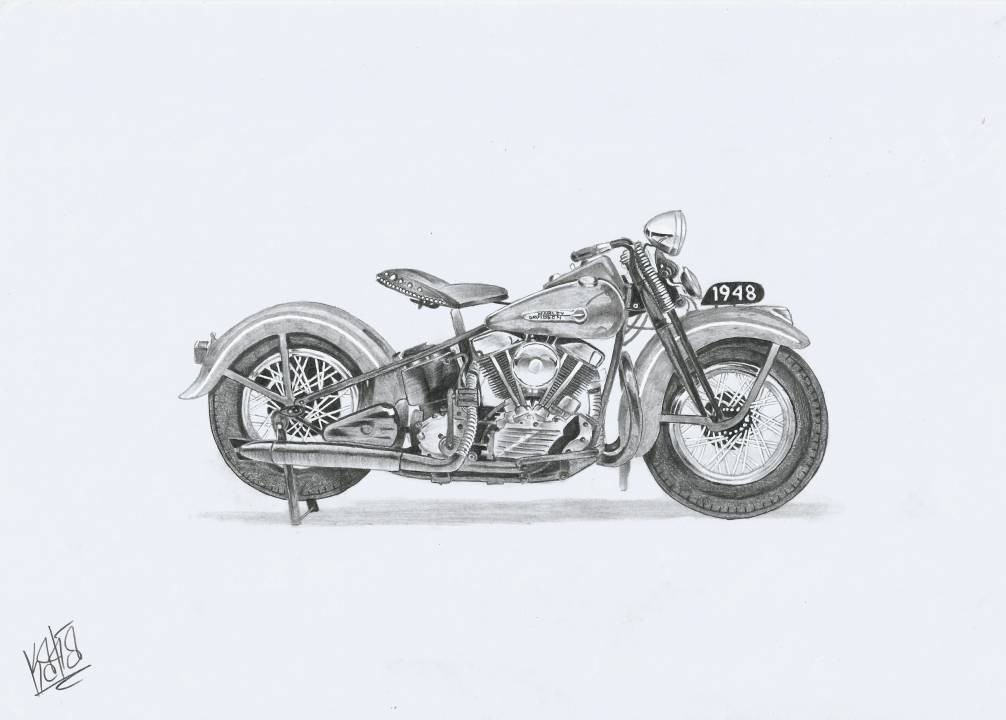 Art Corner 1947 Harley Davidson Knucklehead Drawing Pictures