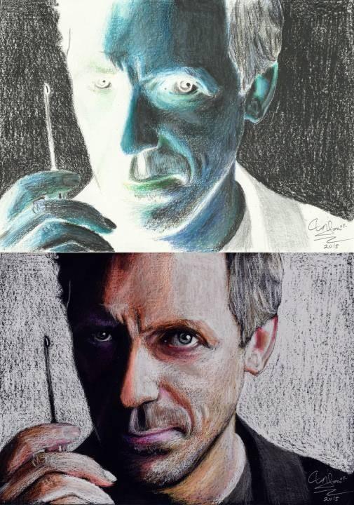 Hugh Laurie Negative Colour Portrait