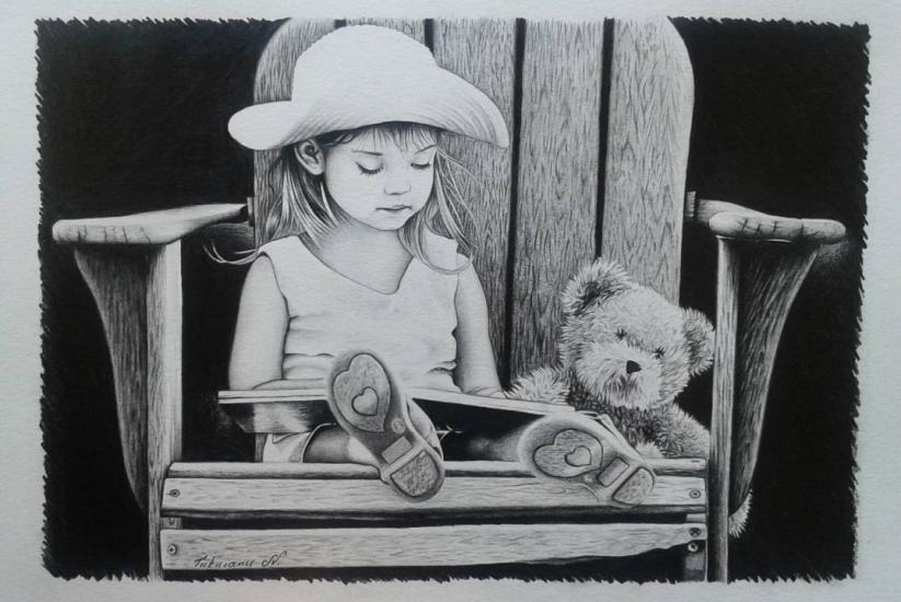 A little girl and her best friend.