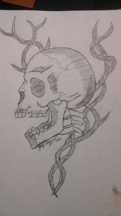 Skull and vines