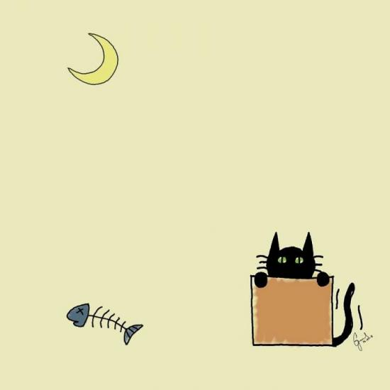 The cat, the moon and the fishbone