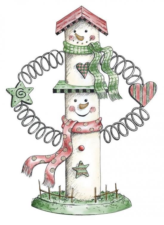 2 layer Snowman Birdhouse Card Holder