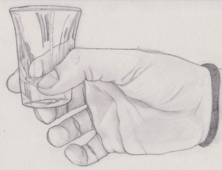 hand with glass