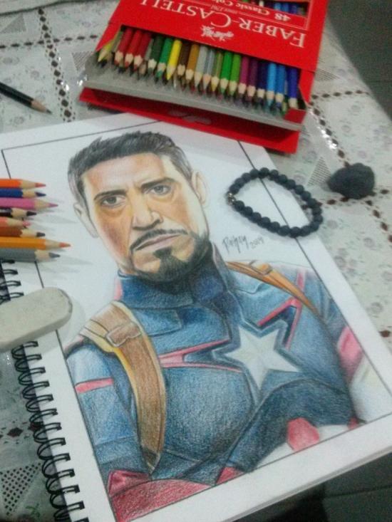 Tony Stark as Captain America