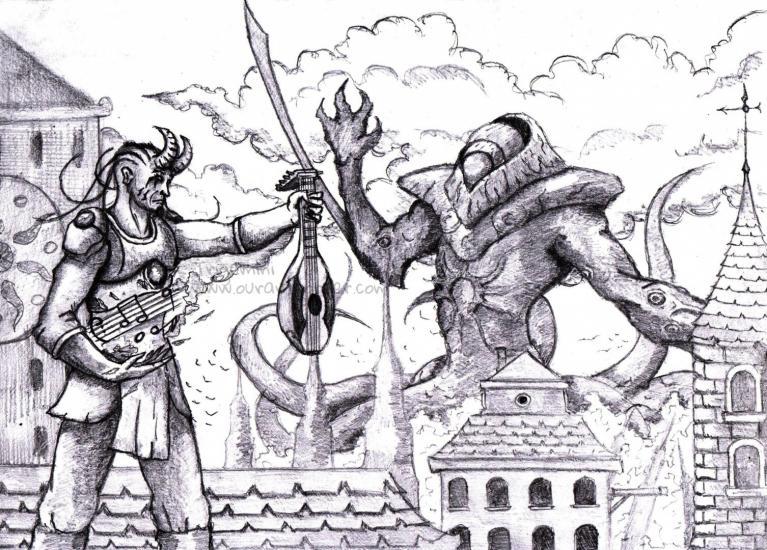 Tiefling-bard and Kozilek, Butcher of Truth