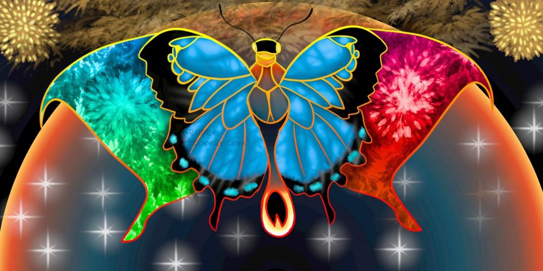 red moon light butterfly
