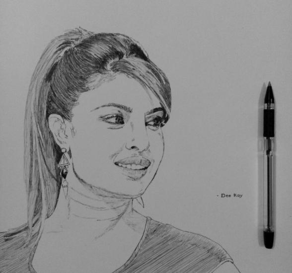 freehand pen drawing- priyanka chopra (bollywood)
