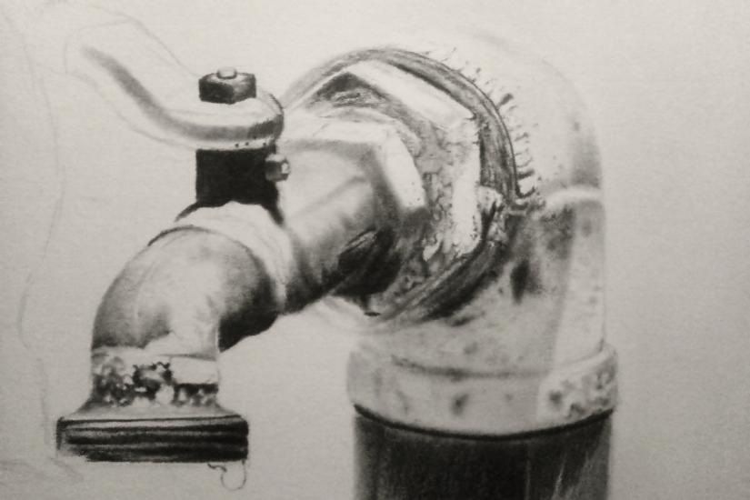 save water in progress, charcoal and graphite work