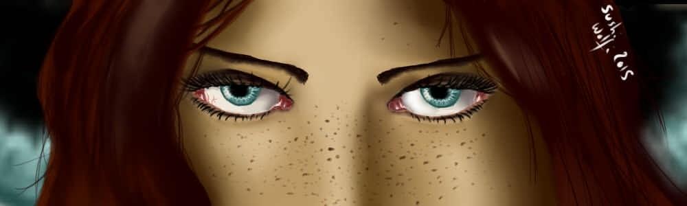 Tries on eyes_
