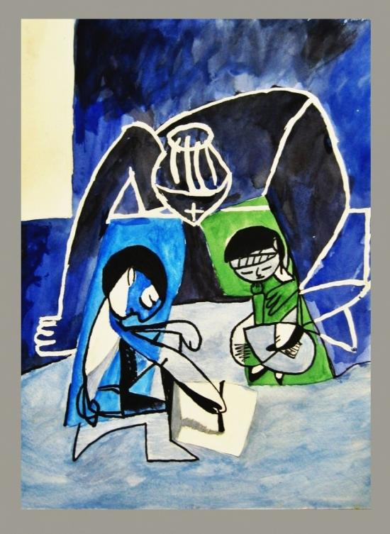 """Rendition of Picasso's """"Claude drawing  Francoise"""