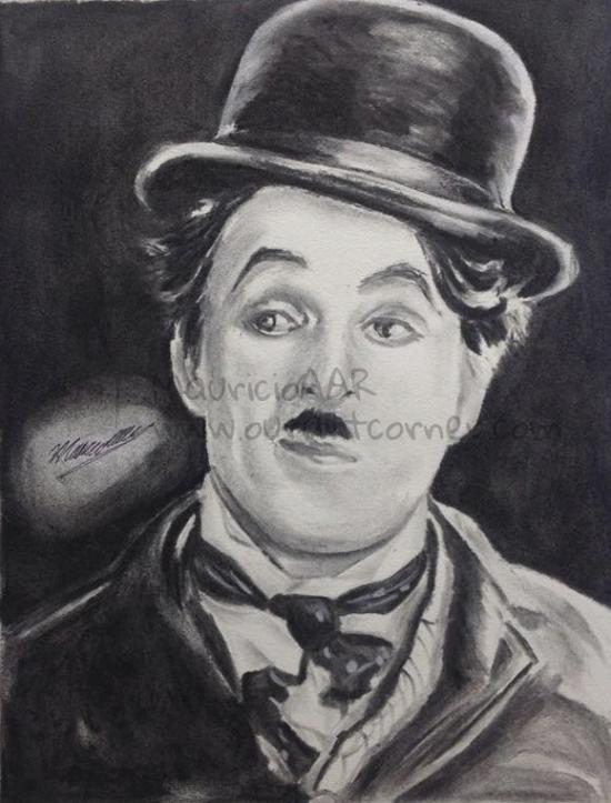 Drawing of Charles Chaplin.