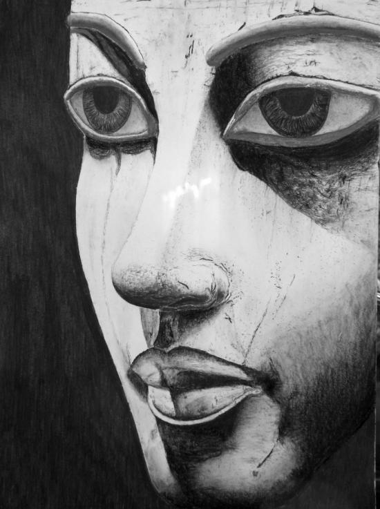 Restored Egyptian death mask