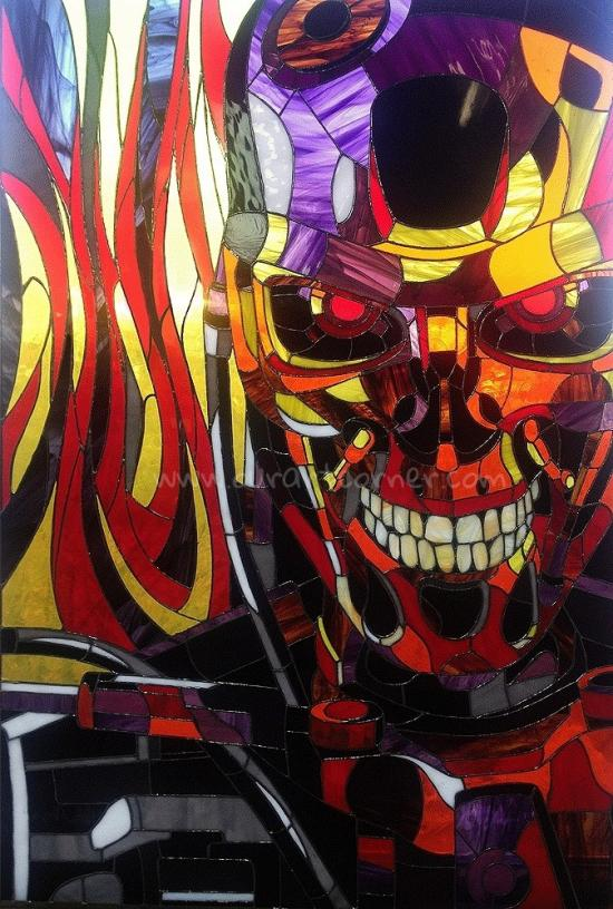 """Stained glass pictures """"Terminator T-800"""""""