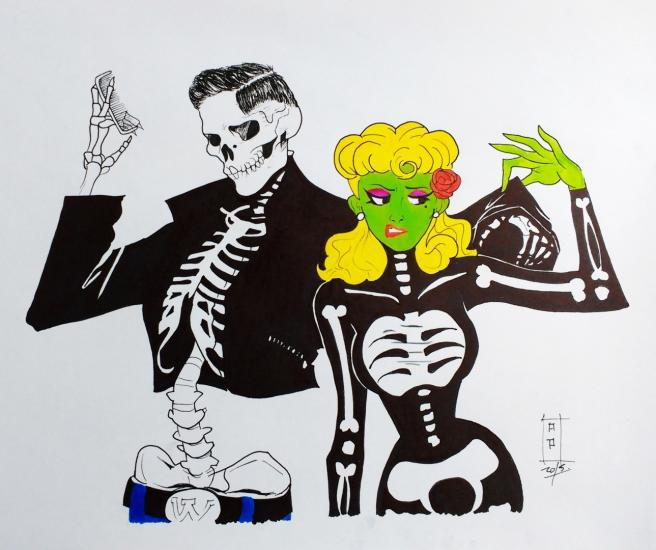 Rockabilly Skull & Zombie Girl