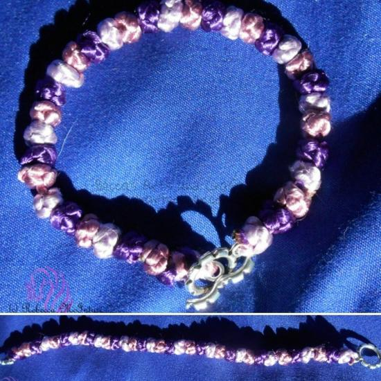 Shades of Purple Bottun Knot Knecklace