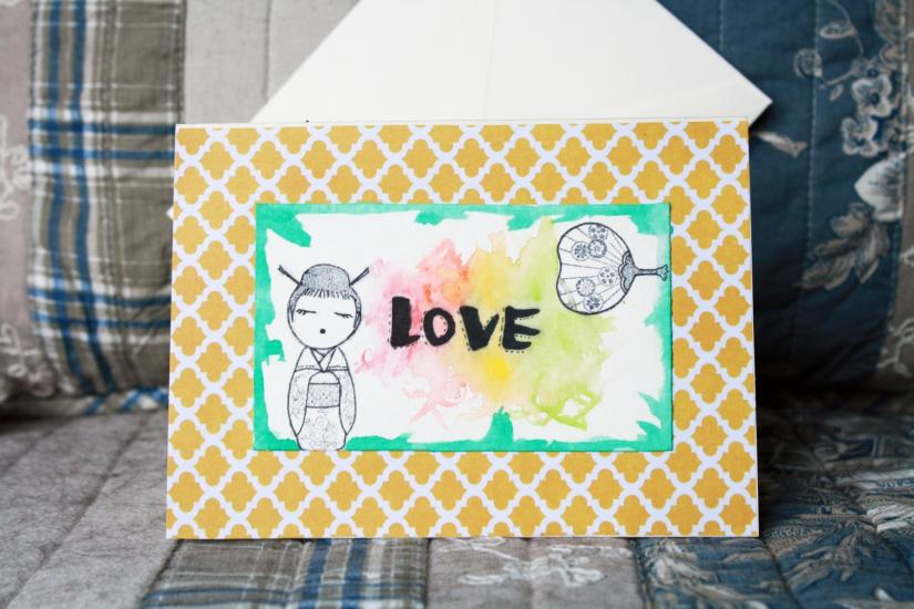 Love wish card (stamp and watercolor)
