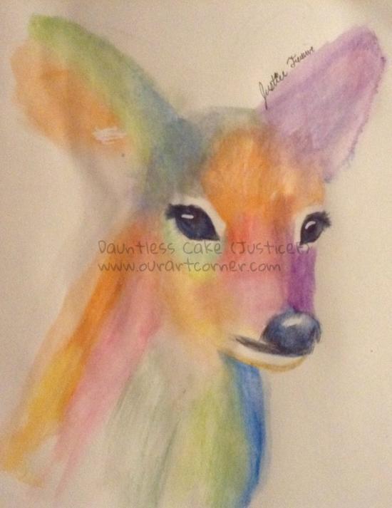 Watercolour Deer Portrait